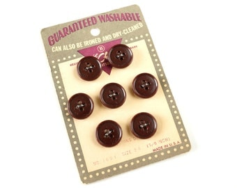 Vintage Dark Burgundy Buttons on Original Card (Set of 7) - Sewing Notions, Collage Art, Craft Supply, and more