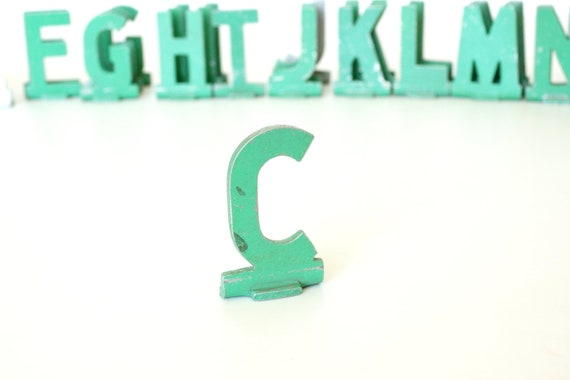 """Vintage Metal Sign Letter """"C"""" (1-13/16 inches tall) with Base - Industrial Decor, Art Supply, and more"""