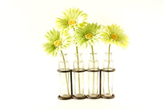 Vintage glass test tube and metal rack holder inline vase for Test tube flower vase rack
