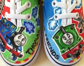 Thomas the Train hand painted little boy shoes