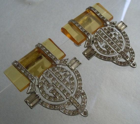 Reserved for SOODS, Rare Fabulous Art Deco Apple Juice Bakelite Rhinestone Dress Clip, Pair