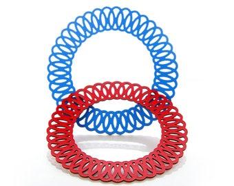 Iskin Big Bang Bracelet - Recycled leather - Bangles - Laser Cut Bracelet - Contemporary Jewelry