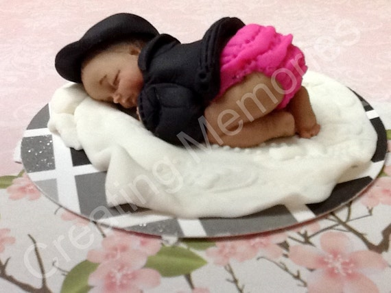 Baby with Leather Jacket/Cake Topper//Baby Shower/First Birthday/ Cake decorations /Party Favors/ Baby cake toppers/Fondant and Gumpaste
