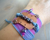 30% OFF SALE use coupon CLEAR30 - Silk Wrap Bracelet, Hand Dyed Silk, Blue Magenta Bracelet, Metalwork Bracelet, Boho Silk Bracelet