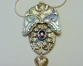 Handcrafted Fine Silver PMC Pendant with Natural Amethyst