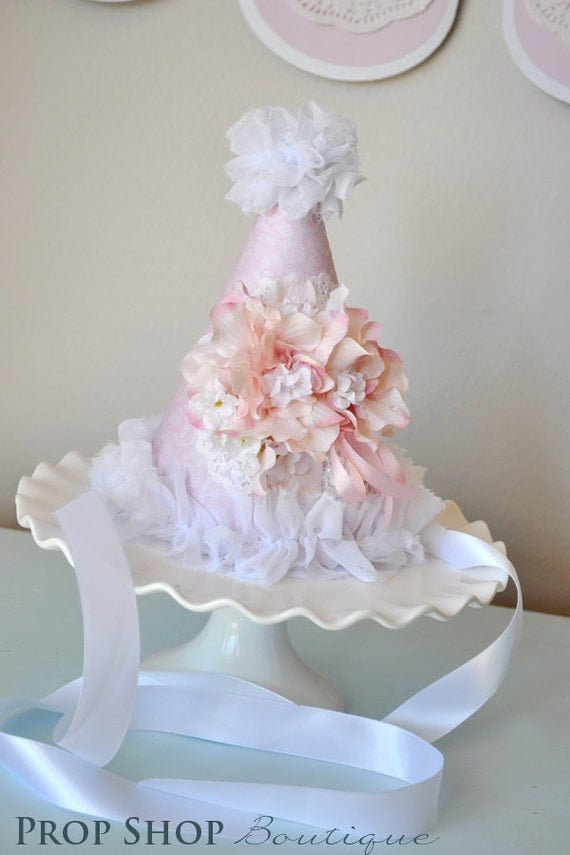Shabby chic Tea Party Birthday Hat, Special Occasion, photo prop
