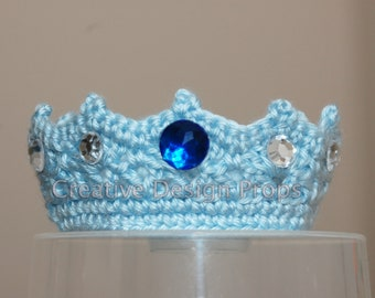 Crochet Baby Prince Crown - Handmade Infant Tiara with Rhinstone Gems - Ecxellent Photo Prop or Wonderful Gift for Baby Shower