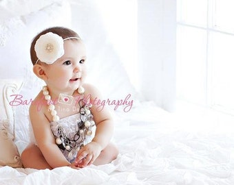 White Flower Baby Headband..Flower Headband..Baby Girl Christening..Baptism Headband..Diamond White Flower with Pearls and Rhinestones