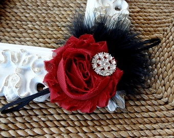 Baby Girl Burgundy and Black Headband..Feathers Rhinestones..Christmas Burgundy and Black Headband..Burgundy Fabric Headband..Black Feathers
