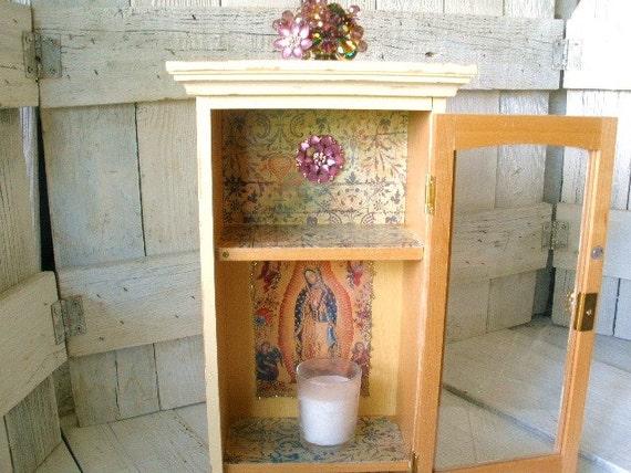 Shrine prayer box wood windowpane cabinet Mary of Guadalupe