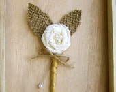 Rustic Boutonniere -Lace Boutonniere -Shabby Chic Wedding -Rustic Wedding -Burlap and Lace - theepapergirl