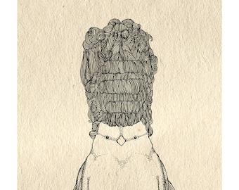 Big Hair Bird Print