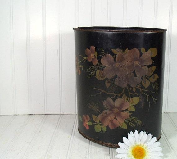 Black and Floral Metal Waste Can - Vintage ToleWare Bin - All Original Hand Painted Flowers