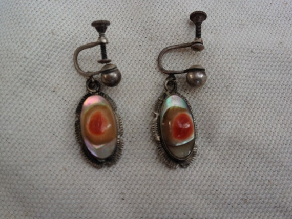Victorian Blister Pearl Sterling Earrings 1800s