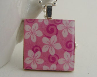 Pink Hibiscus Pendant with Free Necklace