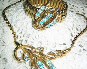 Vintage 40s Aqua Rhinestone Necklace & Expantable Bracelet Free Shipping in USA
