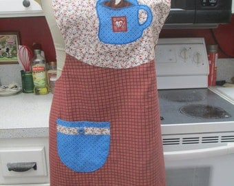 Womens calico full lined apron with applique coffee cup