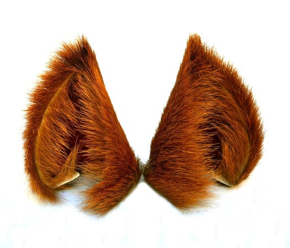 Reserved for Teshigahara Yomi Brown Long Fur Leather Wolf Dog Ears Limited Edition Inumimi Cosplay Furry Goth Fantasy Fashion Wear