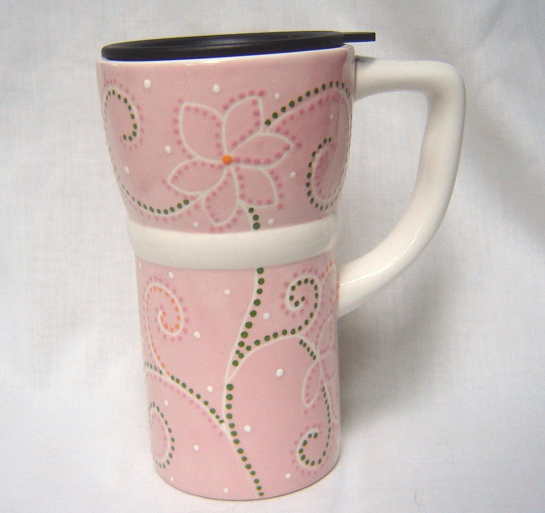 Ceramic Travel Mug W Lid And Handle Pink Flowers Swirls