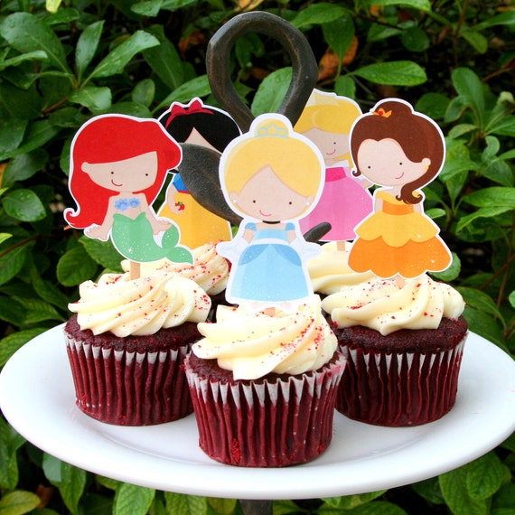 Princess Party Cupcake Toppers Set of 12
