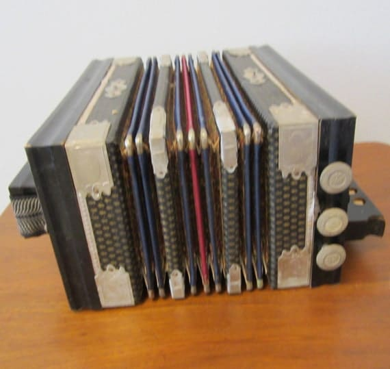 Antique Saxony Accordion Squeeze Box Made By