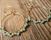 Simplicity Aquamarine Beaded Gold Bohemian Hoops
