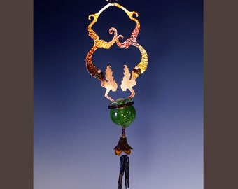 Spring Green Potion Bottle & Wind Chime-Twin Mermaids