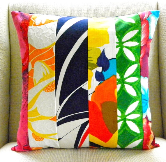 18 x 18 Pillow Cover - Vintage Tropical Mod Patchwork - Navy, Yellow, Orange & Green
