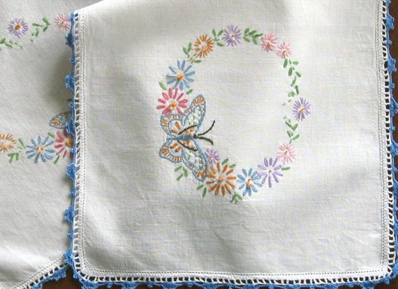 Vintage Hand Embroidered Dresser Scarf or Table Runner Hand Crocheted Lace Rectanagular