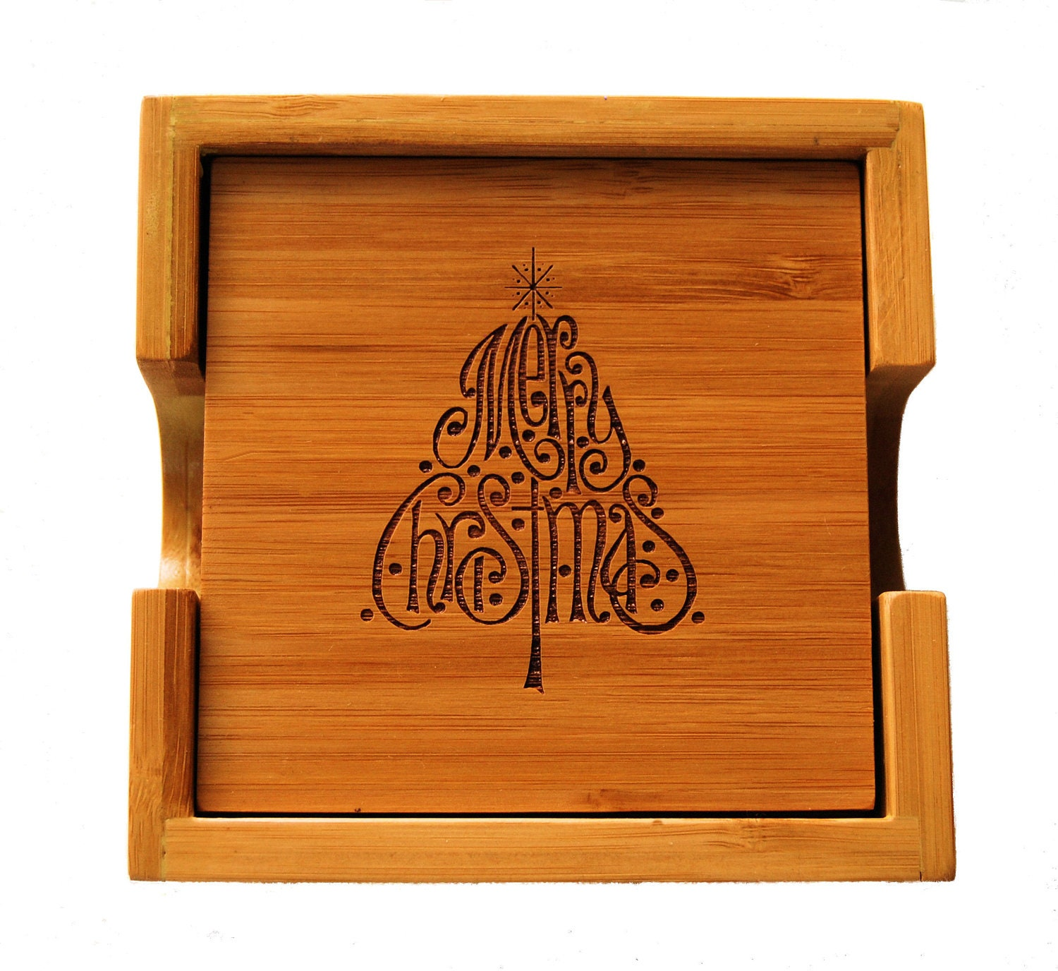 Bamboo Wood Laser Engraved Christmas Coasters Kitchen