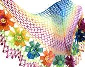 Rainbow,Multi Color, flower shawl ,wedding ,bride,scarf, fall fashion, gift, valentine, winter trends, 2012