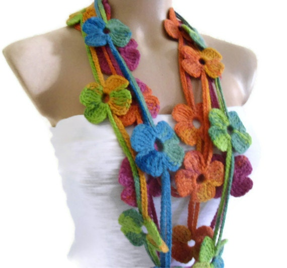 Items Similar To Flower Lariat Scarf Multicolor Scarf With Crochet