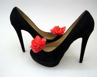 Peach Ruffle Flower Shoe Clips FREE SHIPPING