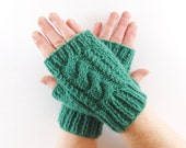 Green Aran Arm Warmer Gloves with Cable Design Bright Sherbet Spring Grass. Short Arm Warmers. Fingerless Gloves.