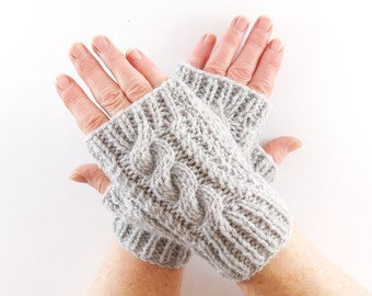Grey Aran Arm Warmer Gloves with Cable Design Stone Gray Slate Shade. Short Arm Warmers. Fingerless Gloves.