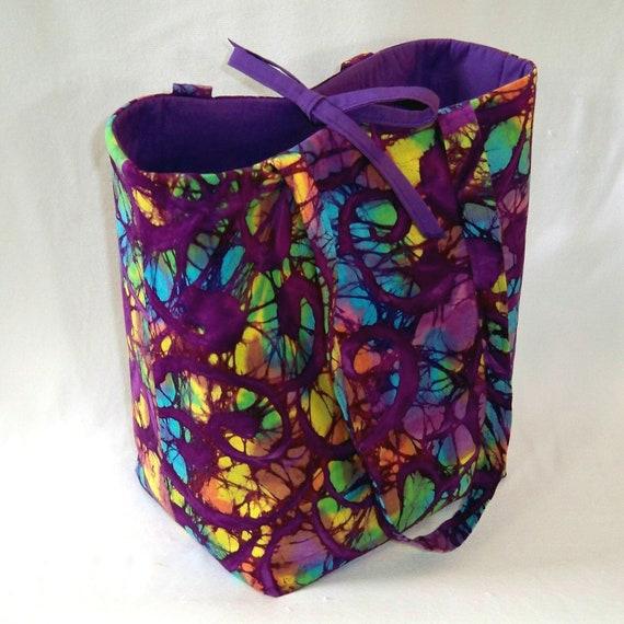 Batik Tote Bag Purse Purple Swirl Yellow Turquoise Blue Green Tie Dye Stained Glass Fabric Bag Shoulder Bag Market Bag Large Bag