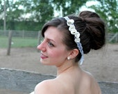 SALE Sculpted white rosettes flower, handstitched on lace, offwhite clay bridal headband