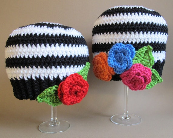 CROCHET PATTERN - Sweet & Simple - A striped beanie (or slouchy) hat with roses in 5 sizes (Baby - Adult)