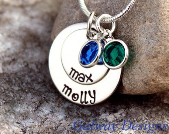 2 disc hand stamped Dainty Mommy Necklace