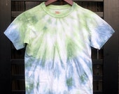 Clearance - Blue and Green Tie Dye Kids T-Shirt - (Youth Large)