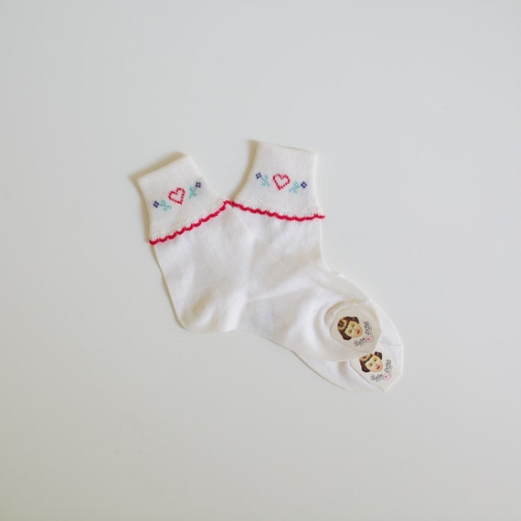 Vintage NEW OLD STOCK Anklet Heart Socks (toddler girls)