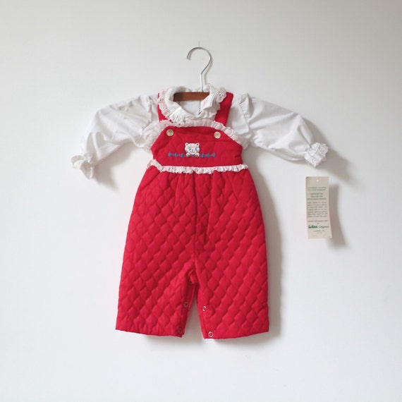 Vintage NEW OLD STOCK Red Cat Overalls and Shirt (3-6 months)