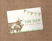 PRINTED - Farm Animal Invitation - perfect for a birthday, retirement or country wedding