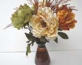 Fall Floral Arrangement In a Ceramic Vase Peonies in Fall Colors - IllusionCreations