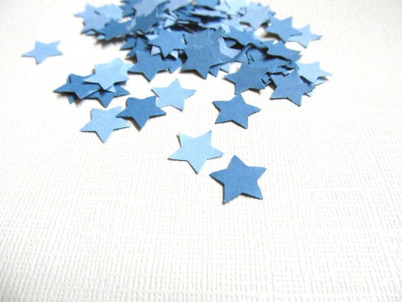 200 Punched Blue Stars, Confetti, Party Decor, Embellishments, Papercrafting