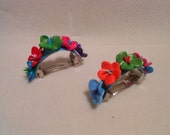 Polymer Clay Flower Pony Tail Barrettes