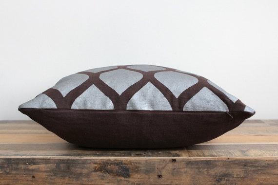 Aya metallic silver & brown hand printed organic hemp pillow cover 20x20