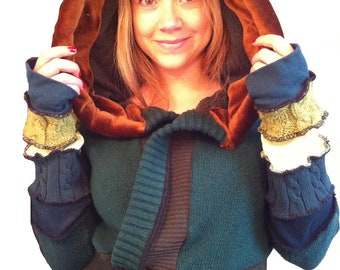 TUTORIAL PATTERN Wood Nymph Green upcycled  Hooded sweater coat extra large
