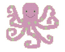Modern Octopus Cross Stitch Pattern for Baby Girls