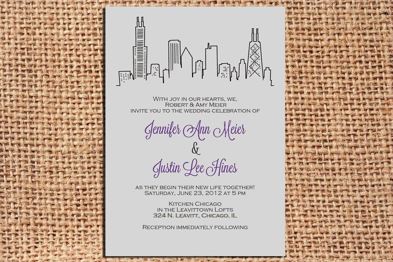 chicago wedding invitation set by kelelizabethdesign on etsy